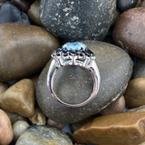 Blue Topaz and Spinel ring set in 925 Sterling Silver