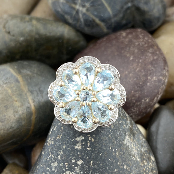 14K Gold Vermeil Finish Blue Topaz and White Topaz Flower ring set in 925 Sterling Silver