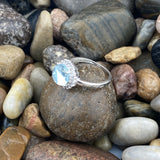 Blue Topaz and White Topaz ring set in 925 Sterling Silver