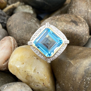 14K Gold Vermeil White Topaz and Swiss Blue Topaz ring set in 925 Sterling Silver