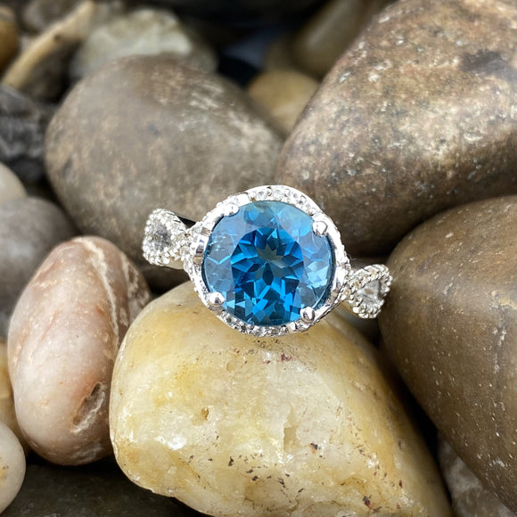 White Topaz and London Blue Topaz ring set in 925 Sterling Silver