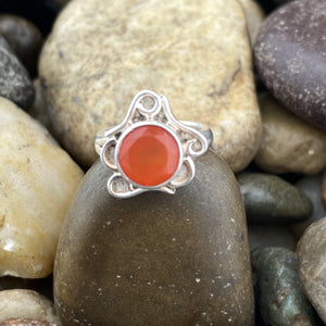 Carnelian ring set in 925 Sterling Silver