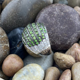 Chrome Diopside and White Topaz ring set in 925 Sterling Silver