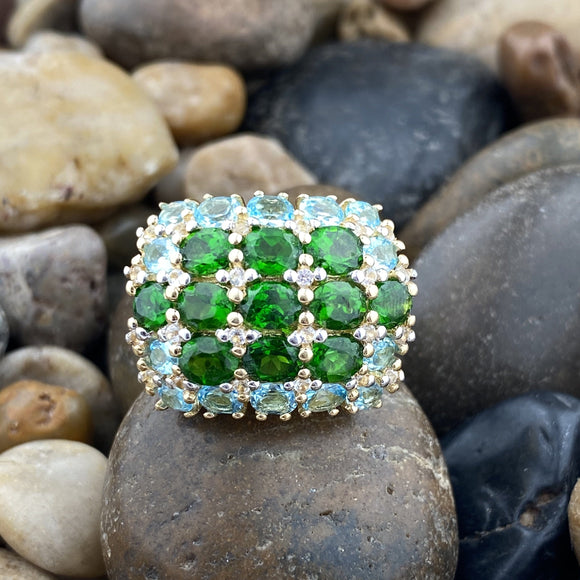 Gold Finish Chrome Diopside, White Topaz and Blue Topaz ring set in 925 Sterling Silver