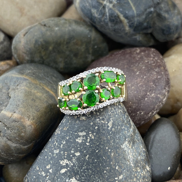 14K Gold Vermeil Finish Chrome Diopside and White Topaz ring set in 925 Sterling Silver