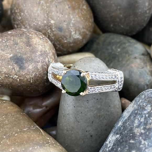 Gold Finish Chrome Diopside and White Topaz ring set in 925 Sterling Silver