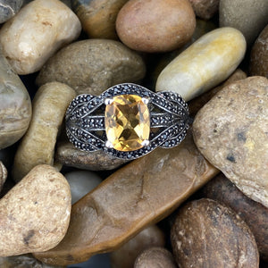 Citrine and Spinel ring set in 925 Sterling Silver