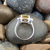 Citrine and White Topaz ring set in 925 Sterling Silver