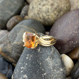 Gold Finish Citrine ring set in 925 Sterling Silver