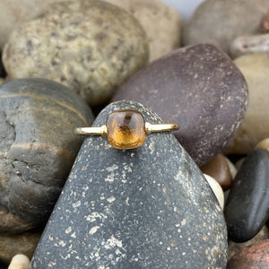 Gold Finish Citrine Ring 4