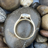 Gold Finish Crystal Quartz ring set in 925 Sterling Silver