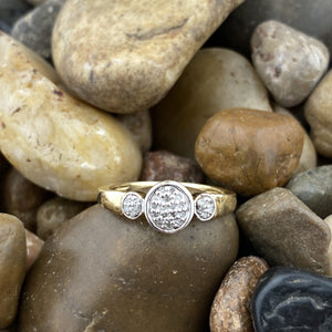 Gold Finish Diamond ring set in 925 Sterling Silver