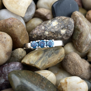 Blue Diamond ring set in 925 Sterling Silver