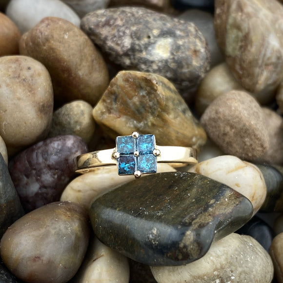 Gold Finish Blue Diamond ring set in 925 Sterling Silver