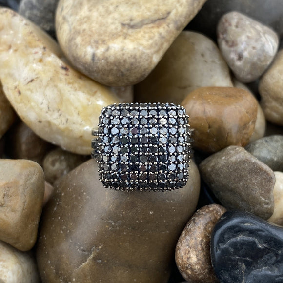 Black Diamond ring set in 925 Sterling Silver
