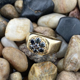 Gold Finish Black Diamond ring set in 925 Sterling Silver