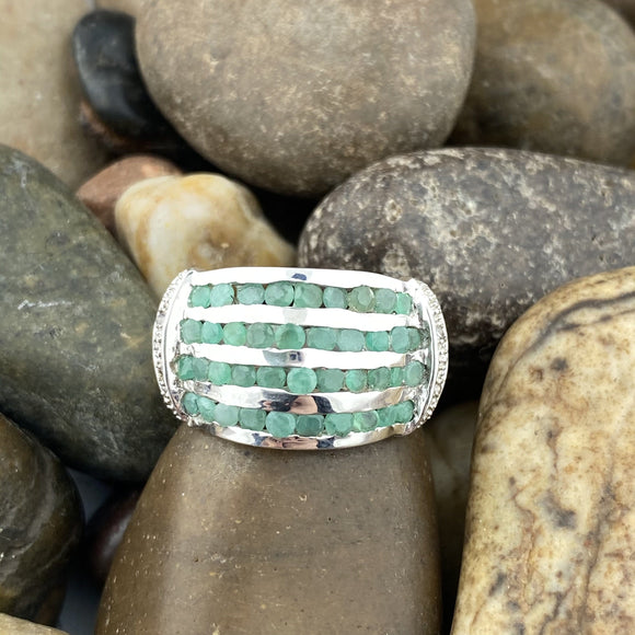 Emerald and White Topaz ring set in 925 Sterling Silver