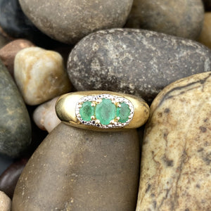 14k Gold Vermeil Emerald ring set in 925 Sterling Silver
