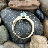 14k Gold Vermeil Emerald and White Topaz ring set in 925 Sterling Silver