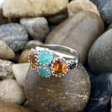 Emerald, Citrine and Garnet ring set in 925 Sterling Silver
