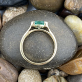 Gold Finish Emerald ring set in 925 Sterling Silver