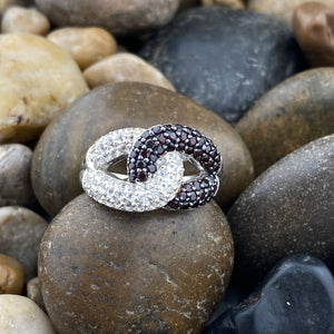 Garnet and White Topaz ring set in 925 Sterling Silver