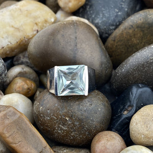 Green Amethyst ring set in 925 Sterling Silver