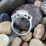 Green Amethyst and White Topaz ring set in 925 Sterling Silver