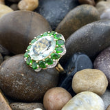 Gold Finish Green Amethyst and Chrome Diopside ring set in 925 Sterling Silver