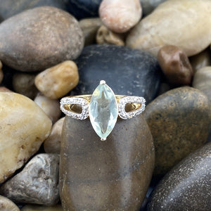 Gold Finish Green Amethyst Ring 1
