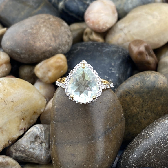 Gold Finish Green Amethyst Ring 2