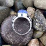 Lapis, Spinel and White Topaz ring set in 925 Sterling Silver