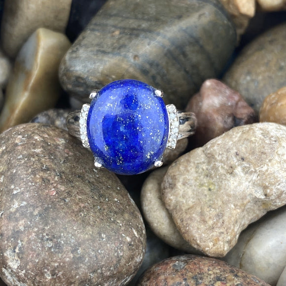 Lapis and Diamond ring set in 925 Sterling Silver