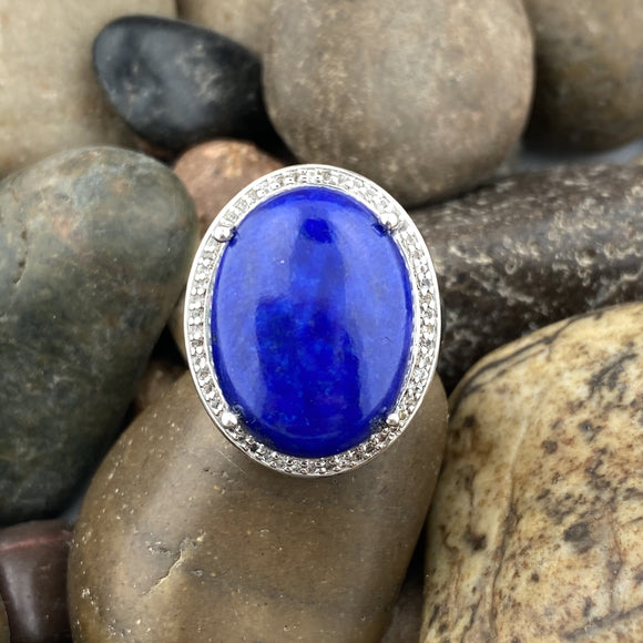 Lapis and White Topaz ring set in 925 Sterling Silver