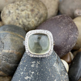 Lemon Quartz and White Topaz ring set in 925 Sterling Silver