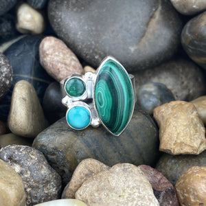 Malachite, Emerald and Turquoise ring set in 925 Sterling Silver