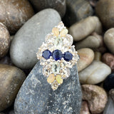 Opal, Citrine and Iolite ring set in 925 Sterling Silver