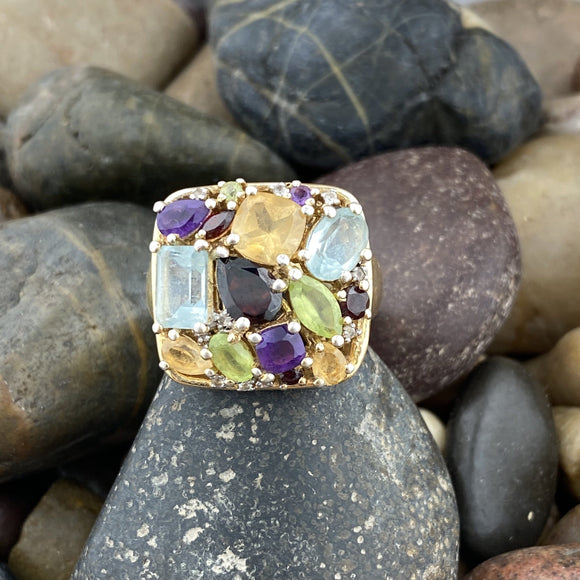 Gold Finish Mixed Gemstone Ring 2