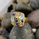 Gold Finish Citrine, Blue topaz, Garnet, Peridot and Amethyst ring set in 925 Sterling Silver