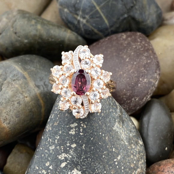 Rose Gold Finish Rhodolite and White Topaz ring set in 925 Sterling Silver