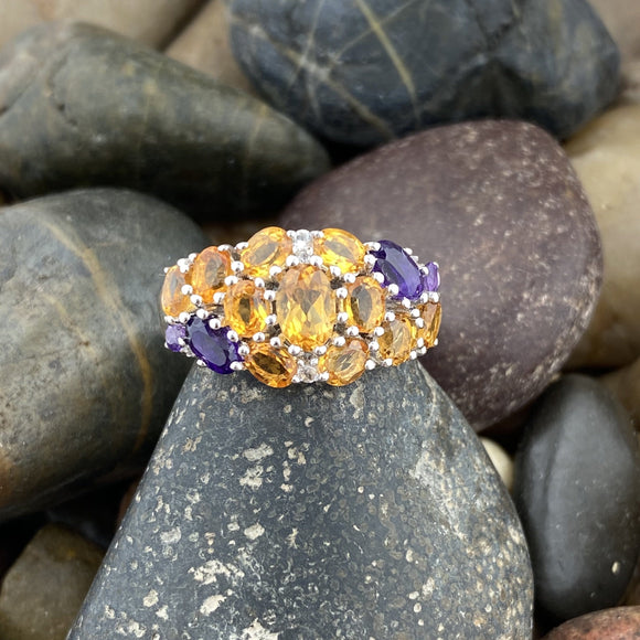 Citrine, Amethyst and White Topaz ring set in 925 Sterling Silver