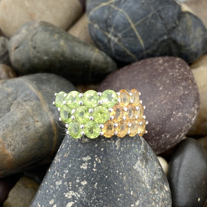 Peridot and Citrine ring set in 925 Sterling Silver