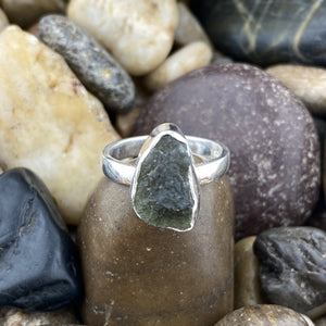 Moldavite ring set in 925 Sterling Silver