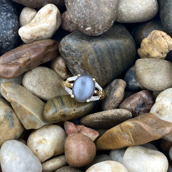 Gold finish Moonstone ring set in 925 Sterling Silver
