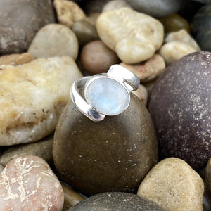 Rainbow Moonstone ring set in 925 Sterling Silver