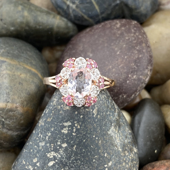 14K Rose Gold Vermeil Finish Morganite, White Topaz and Pink Tourmaline ring set in 925 Sterling Silver