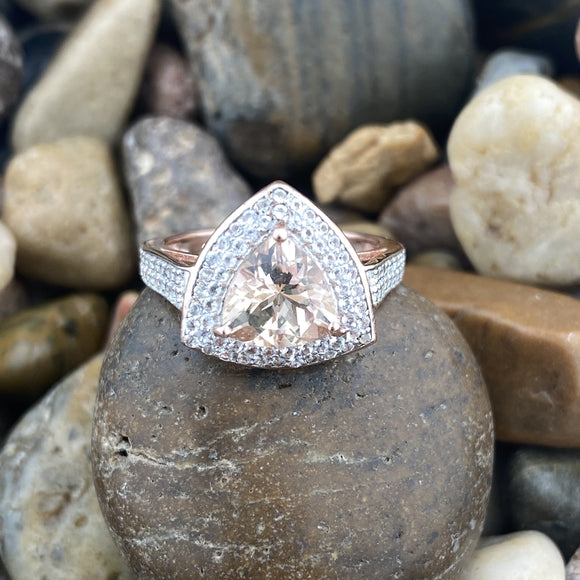 Rose Gold Finish Morganite and White Topaz ring set in 925 Sterling Silver