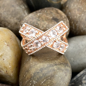 Rose Gold Finish Morganite ring set in 925 Sterling Silver