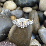 Gold Finish Morganite and Diamond ring set in 925 Sterling Silver