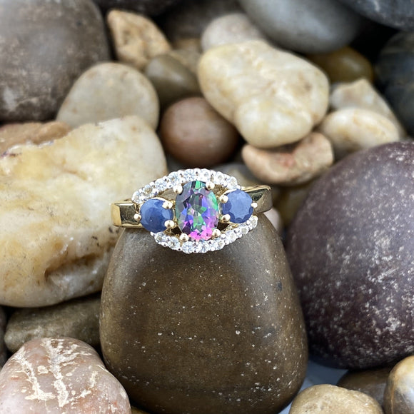 Gold Finish Mystic Topaz, Sapphire and White Topaz ring set in 925 Sterling Silver